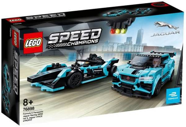 LEGO® Speed Champions Formula E Panasonic Jaguar Racing GEN2 car & Jaguar I-PACE eTROPHY 76898